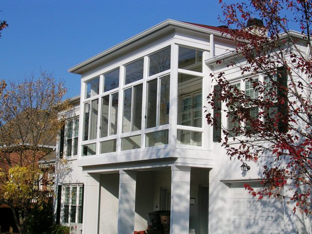 Under existing gallery mr enclosure michigan sunrooms for Second floor sunroom
