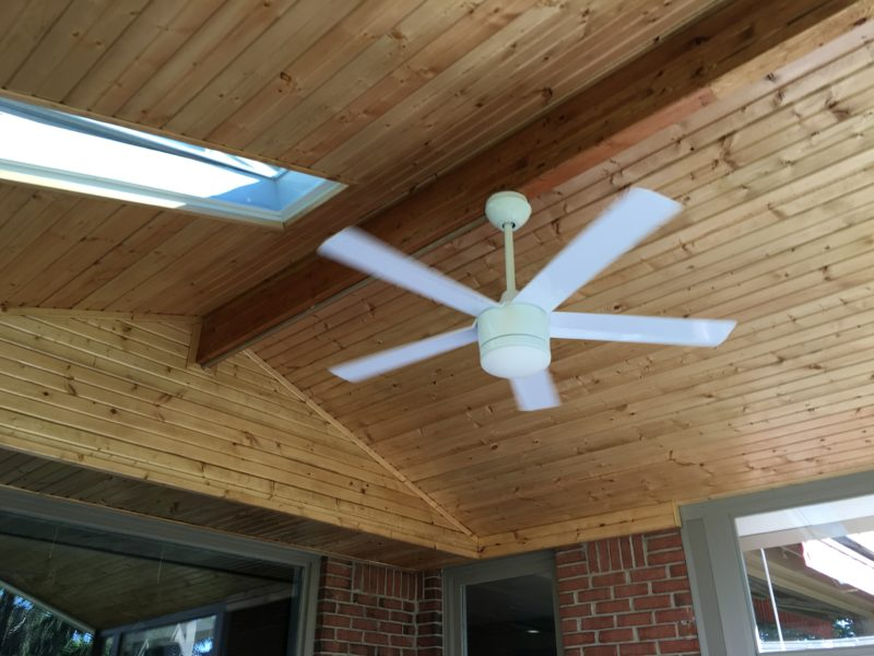 Gable Style Sunroom Ceiling Stained Bead Board With Skylights And